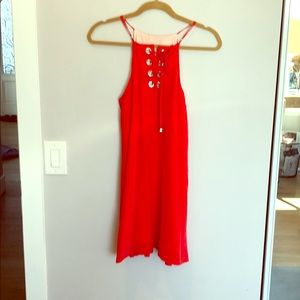 Silk red Dress Lavender Brown size s